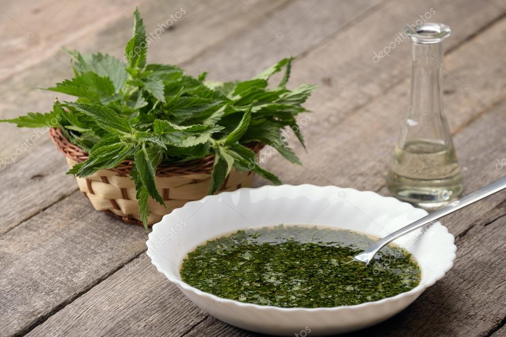 Nettle soup in a white bowl