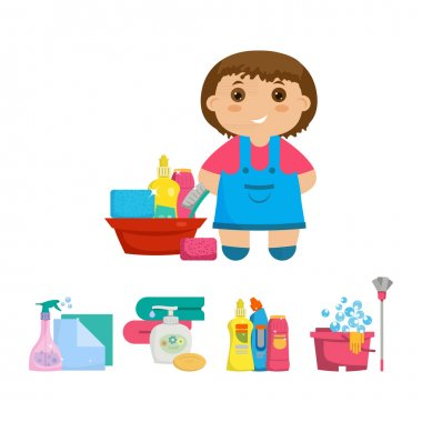 Cartoon girl with a set of objects for cleaning the house.