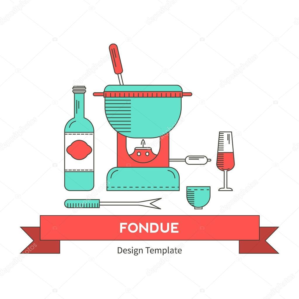 Fondue party vector — Stock Vector © lilileka #103504636