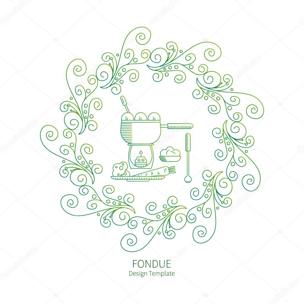 Fondue party Vector labels — Stock Vector © lilileka #103505510