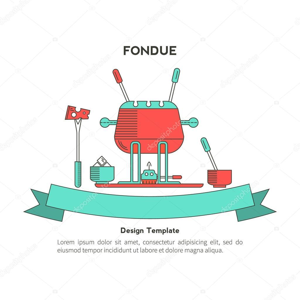 Fondue party vector — Stock Vector © lilileka #103505548