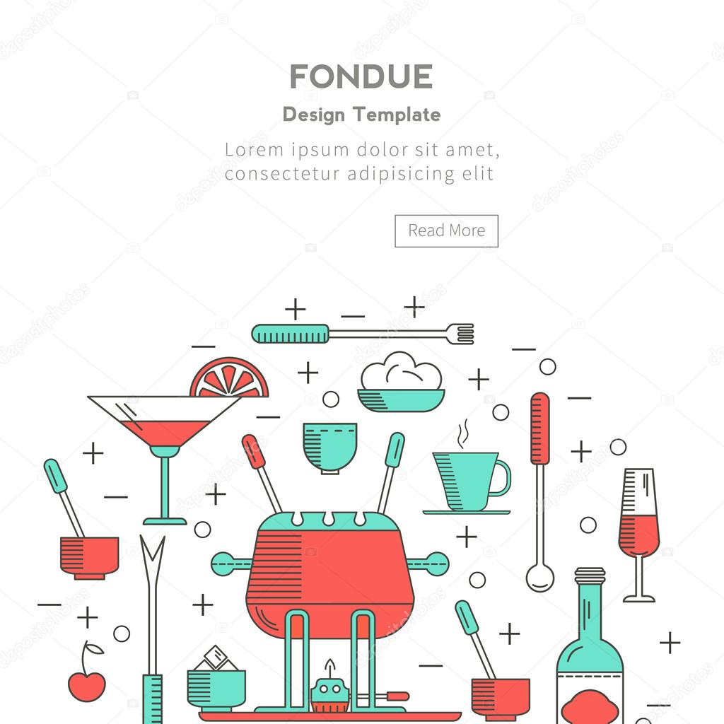Fondue icons in the form of a circle. — Stock Vector © lilileka ...