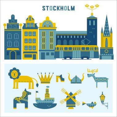 Vector set of design elements in Stockholm