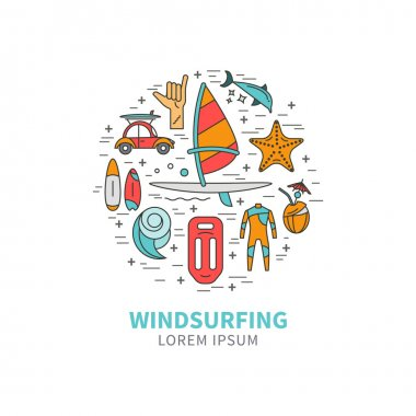 Windsurfing icons in the form circle