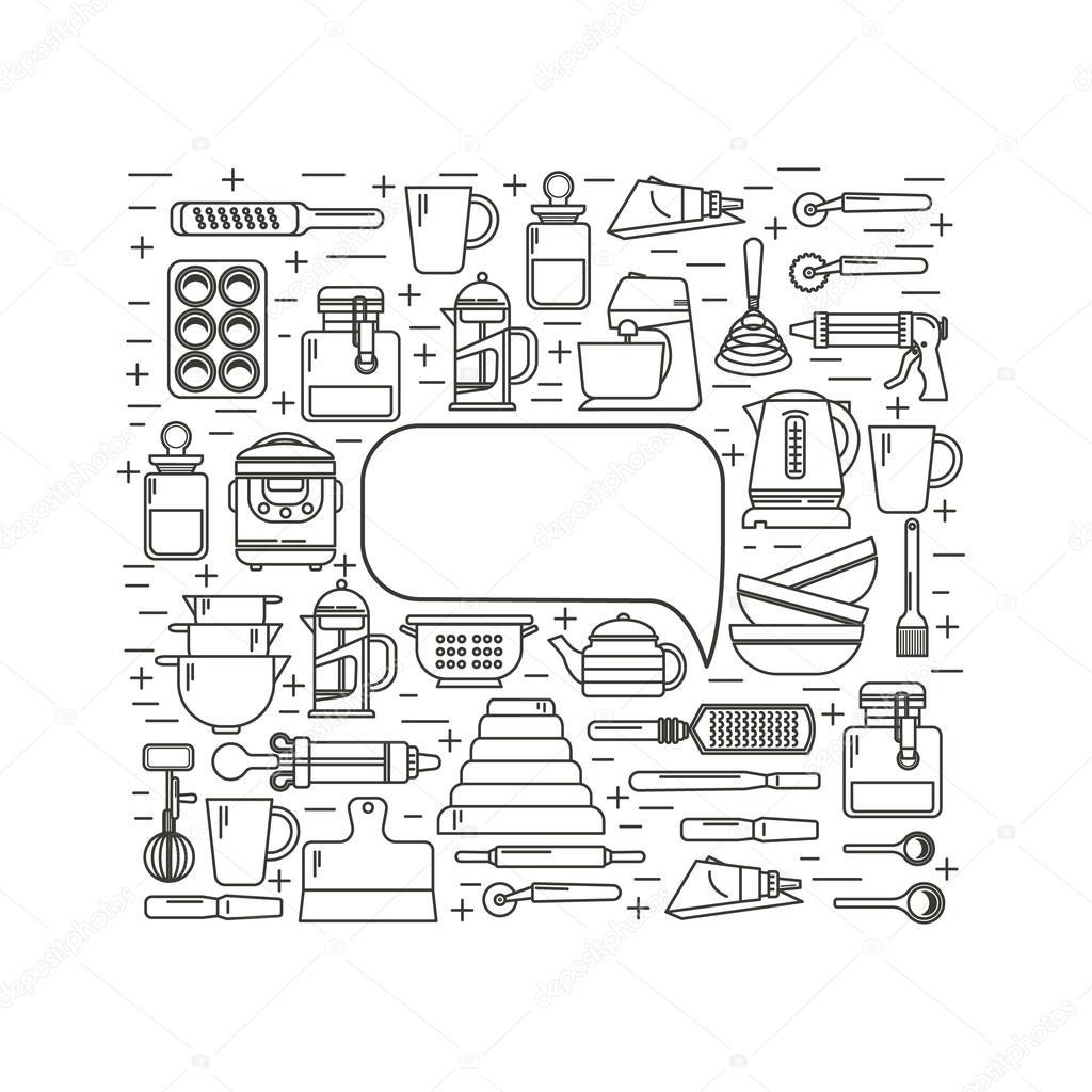 Utensilios de cocina de diseño plantilla — Archivo Imágenes ...