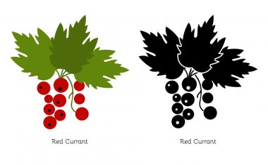 Vector red currant on a white background