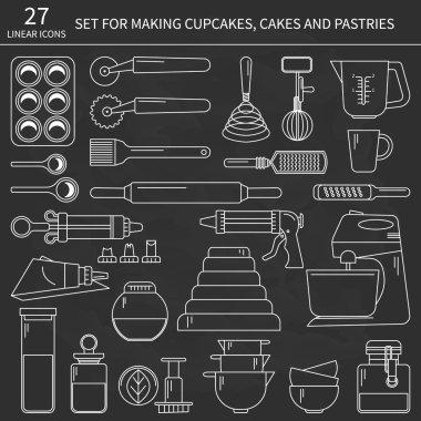 Set of baking ingredients for design menus, recipes. Vector Illustration. Black background. clip art vector