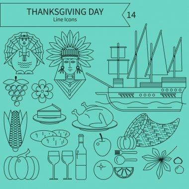 Linear illustrations on Thanksgiving