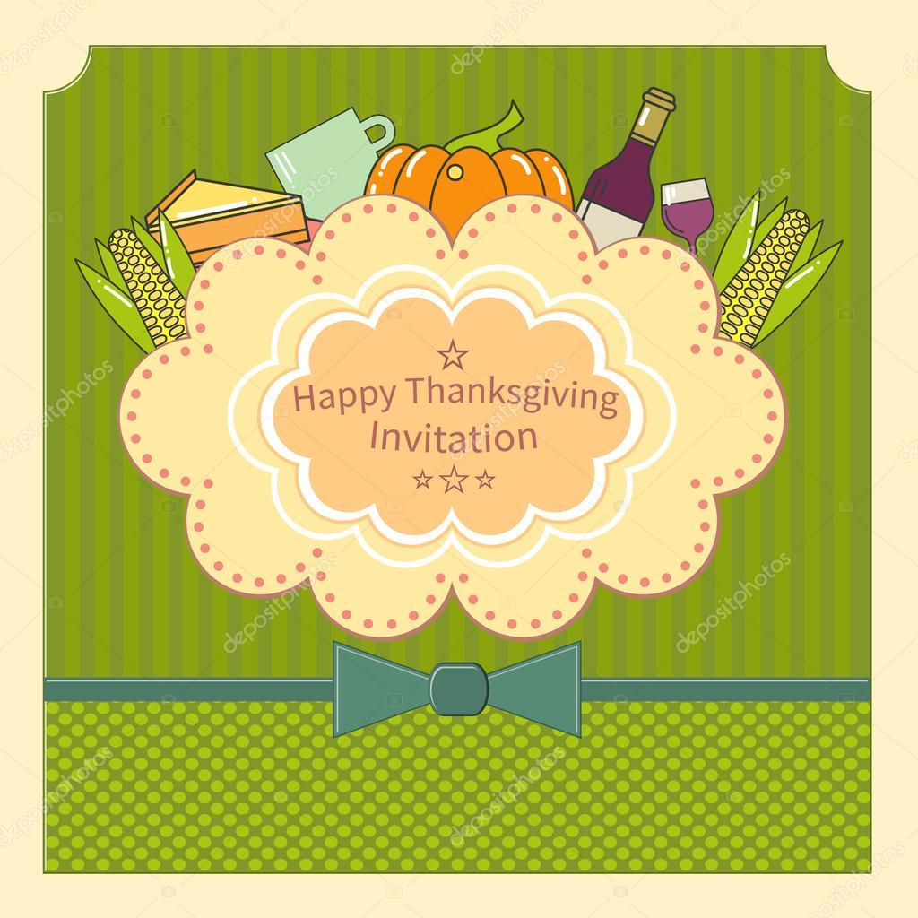 Tarjeta De Invitación Para Acción De Gracias Tarjeta Para El Día