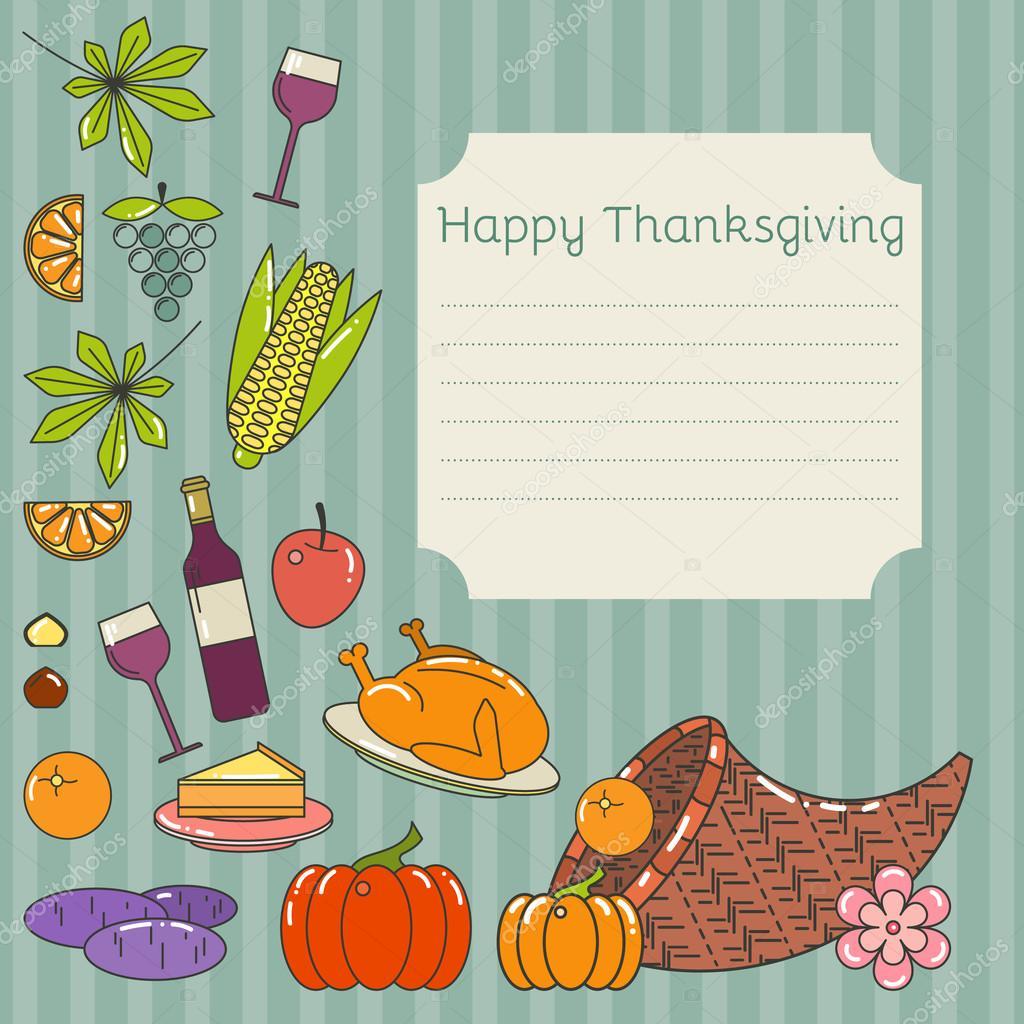Tarjeta Para El Día De Acción De Gracias Vector De Stock