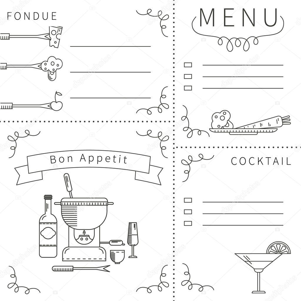 Menü-Vorlage-fondue — Stockvektor © lilileka #92639570