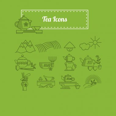 Chinese and Japanese tea facilities icons