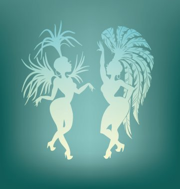 Samba queen dancing silhouette