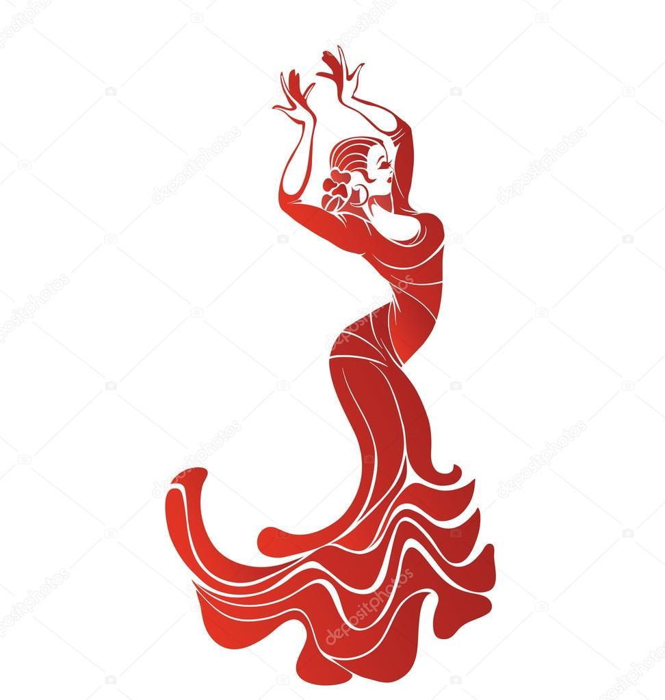 Giovane donna appassionata danza flamenco vettoriali - Danseuse flamenco dessin ...