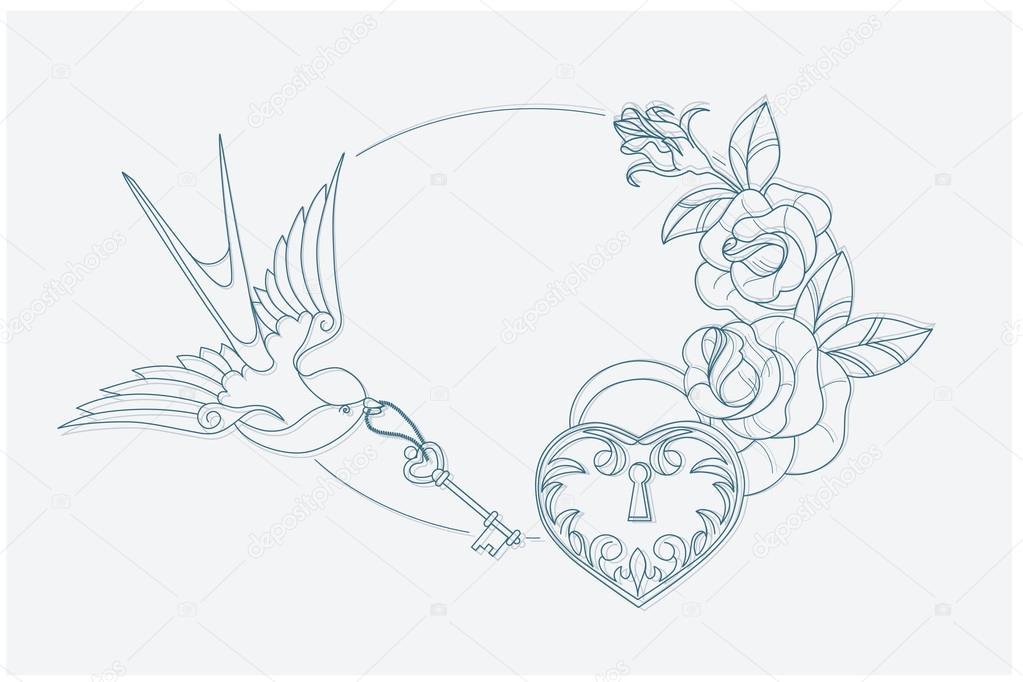 Liebe Thema Färbung Seite Old School Tattoo Zeichen — Stockvektor ...