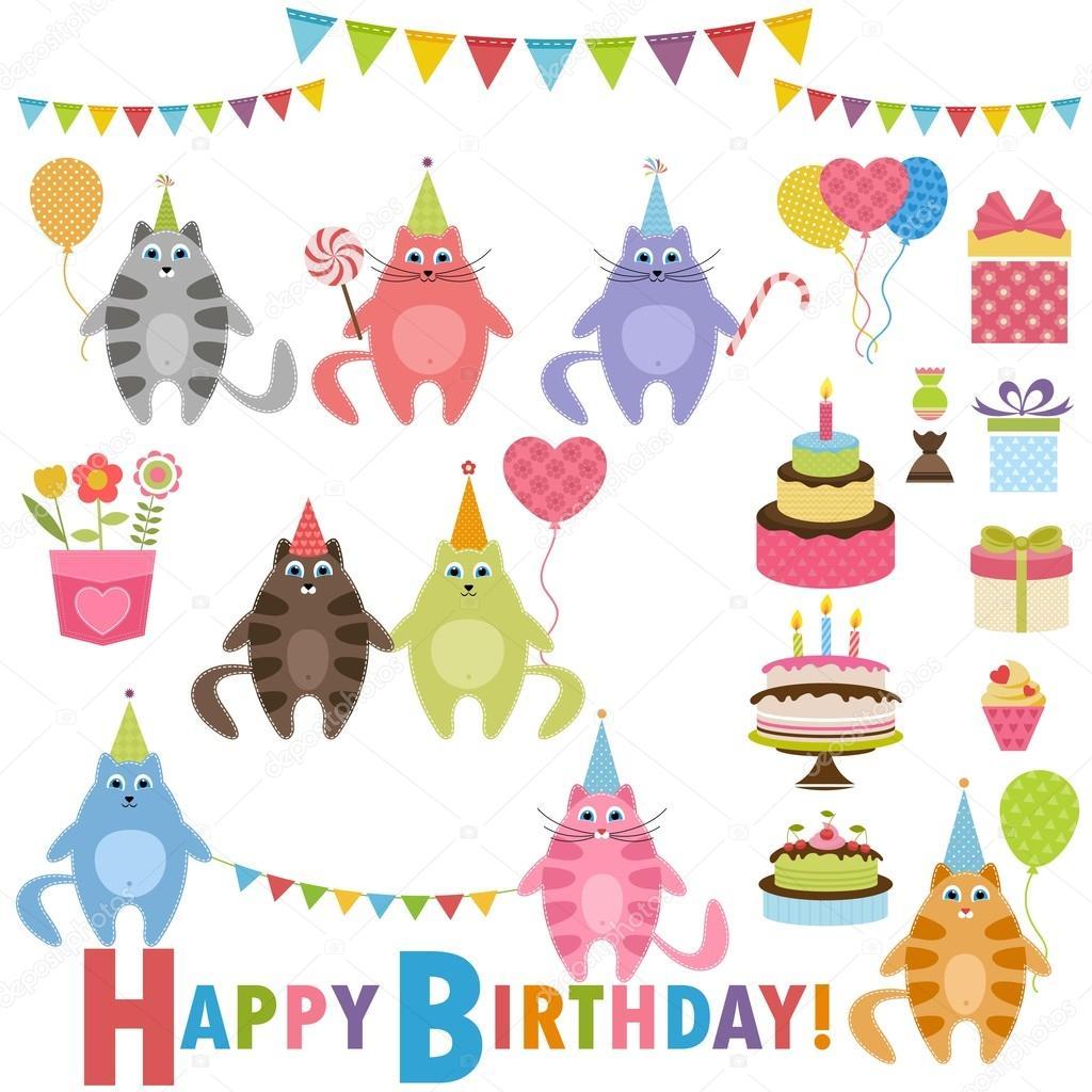 Geburtstag Partyset Mit Katzen Stockvektor C Ann Precious 103231464
