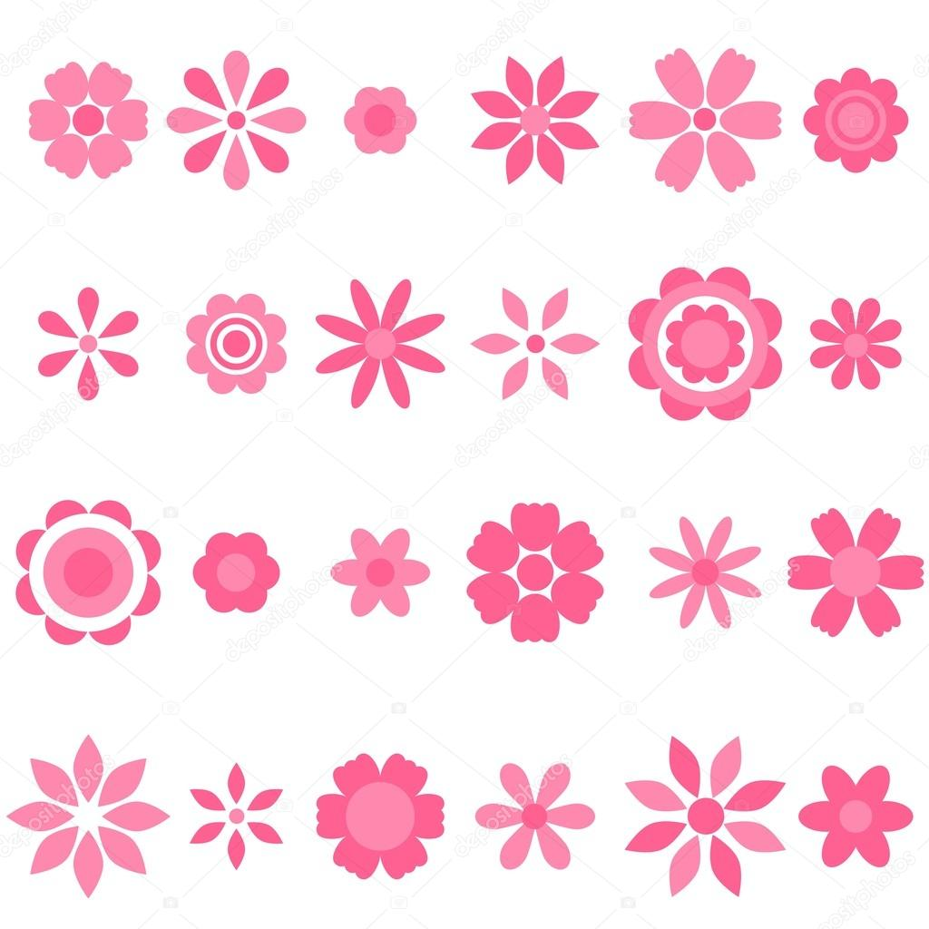 pink flowers set