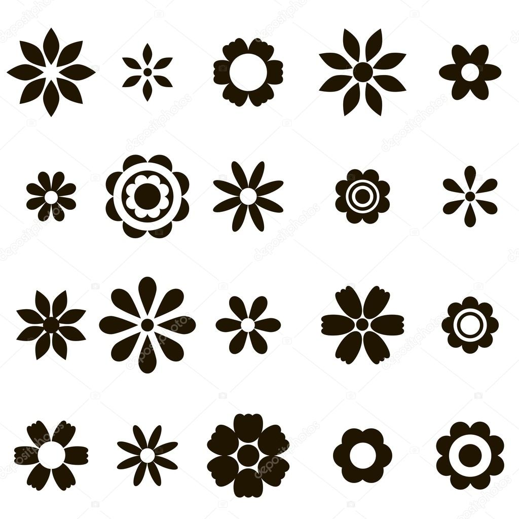 set of black flat flower icons