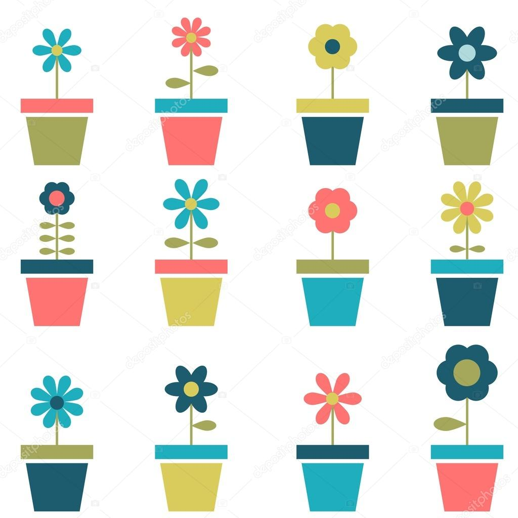 flowers in pots set