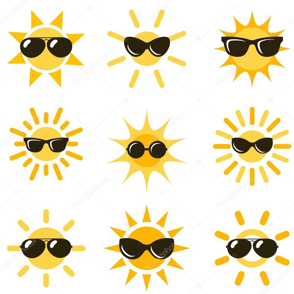sun icons with black sunglasses