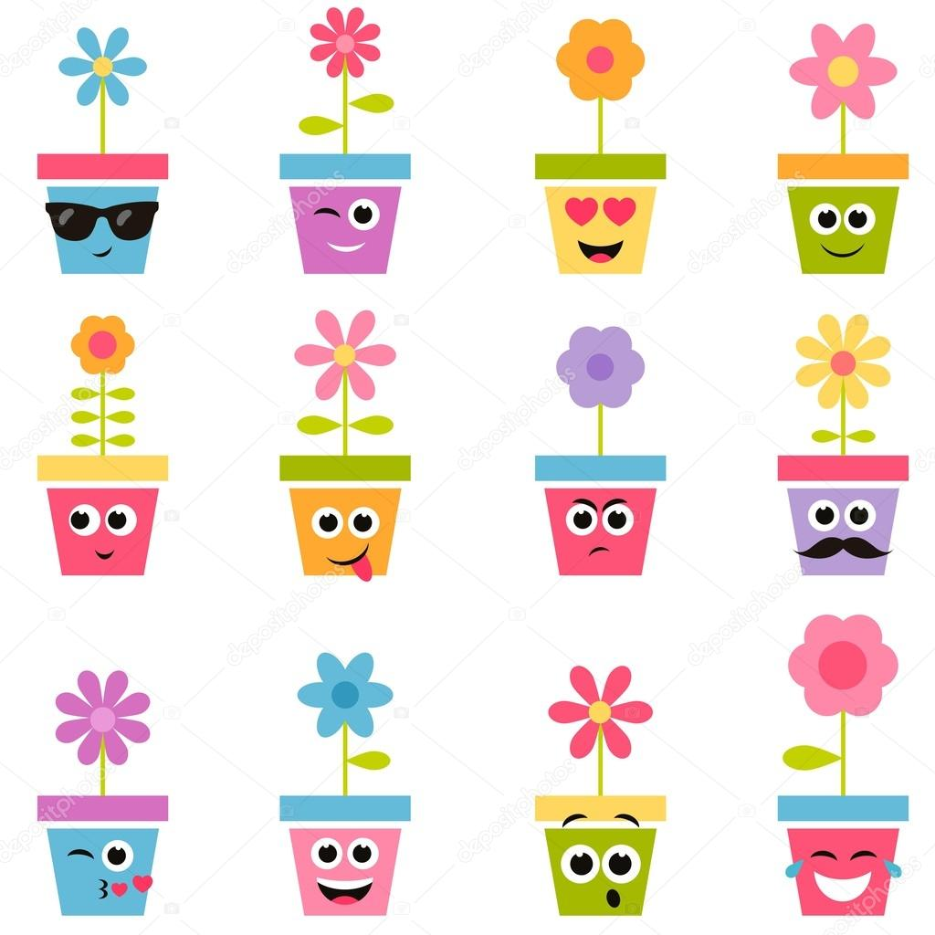 flowers in pots with smiley faces