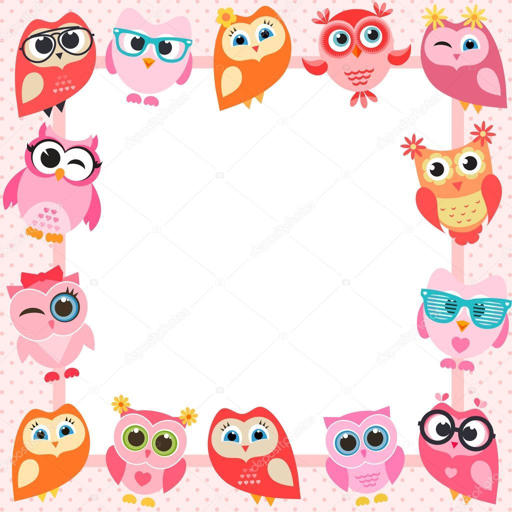 frame with funny owls — Stock Vector © Ann_Precious #117556866