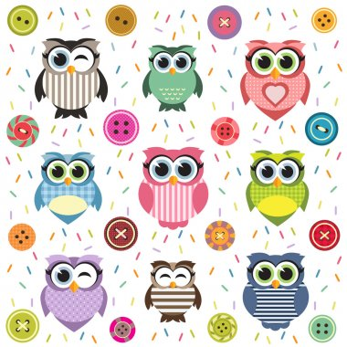 Background with cute textured owls