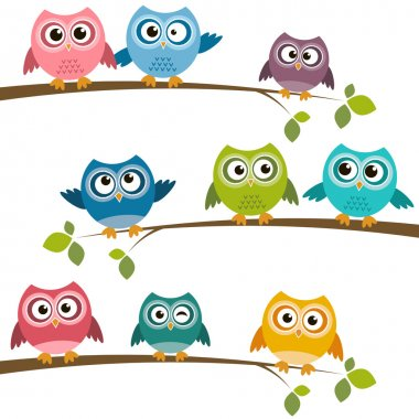 Set of colorful cartoon owls on branches