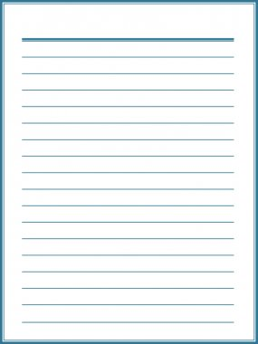 Notebook paper with blue lines