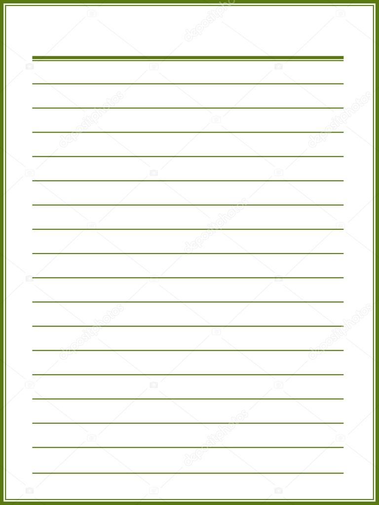 Notebook paper with green lines — Stock Vector © Ann_Precious ...