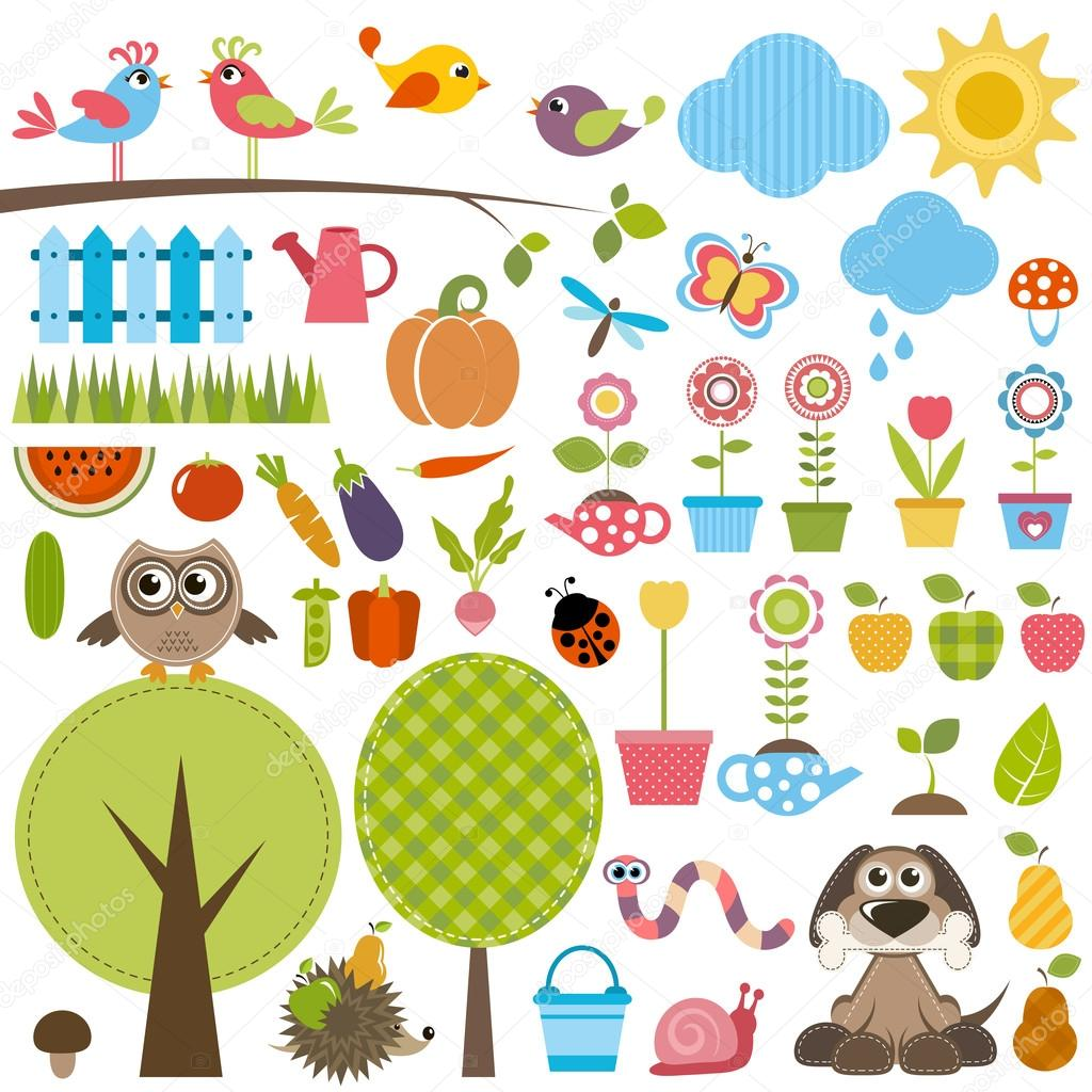 Garden set with birds, trees, flowers, vegetables and insects