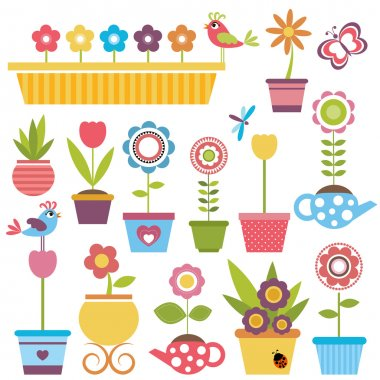 Cute spring colorful flowers in pots