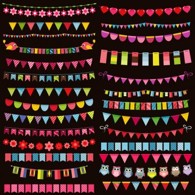 Colorful flags, bunting and garland set on dark background stock vector