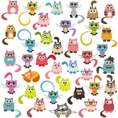 set of cats and kittens