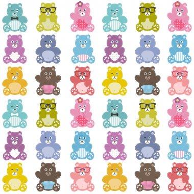 Pattern with cute teddy bears