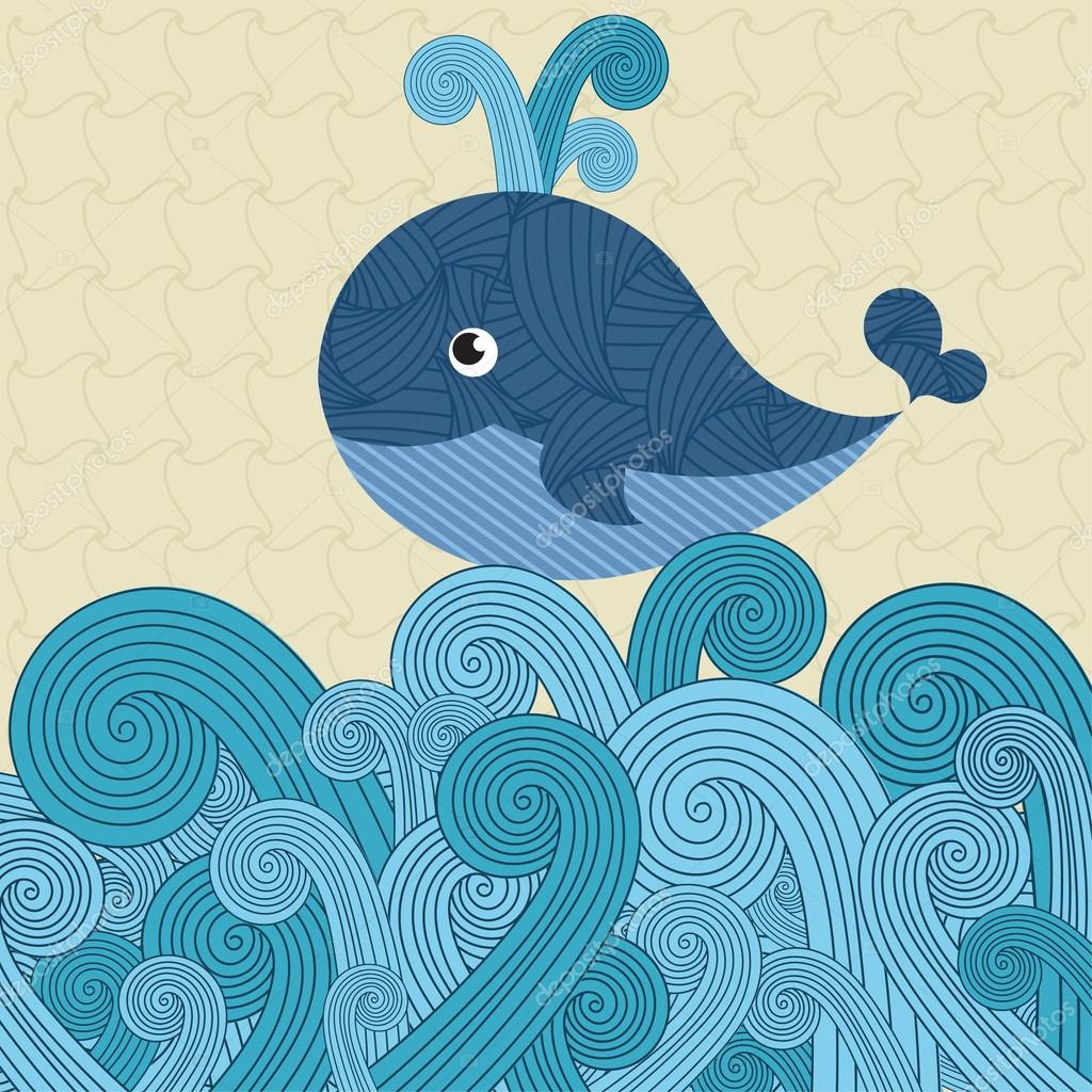 Patterned whale on the waves