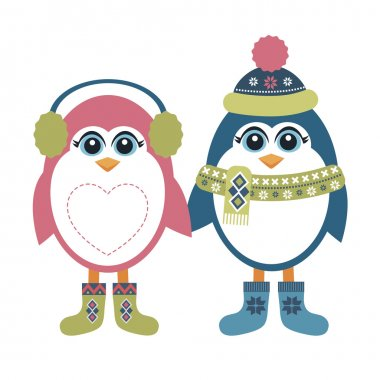 Two penguins in winter