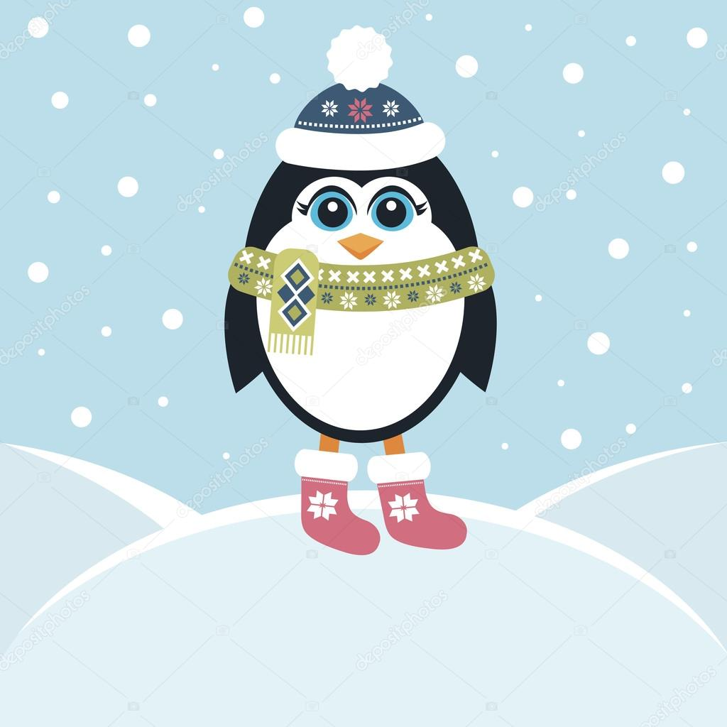 Cute penguin in winter