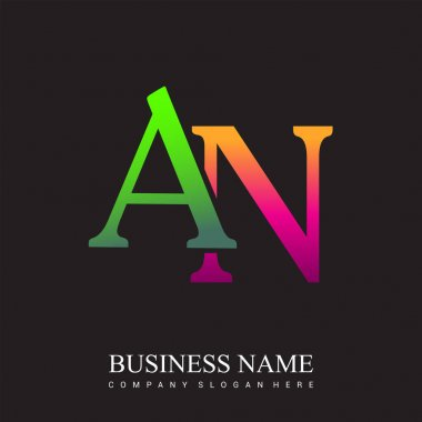 Initial letter logo AN colored pink and green, Vector logo design template elements for your business or company identity. icon