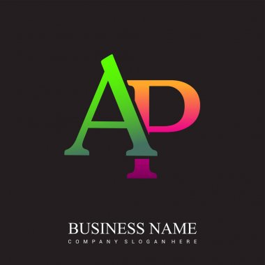 Initial letter logo AP colored pink and green, Vector logo design template elements for your business or company identity. icon