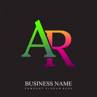 Initial letter logo AR colored pink and green, Vector logo design template elements for your business or company identity. icon