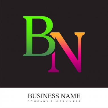 Initial letter logo BN colored pink and green, Vector logo design template elements for your business or company identity. icon