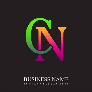 Initial letter logo CN colored pink and green, Vector logo design template elements for your business or company identity. icon