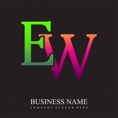 Initial letter logo EW colored pink and green, Vector logo design template elements for your business or company identity. icon