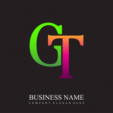 Initial letter logo GT colored pink and green, Vector logo design template elements for your business or company identity. icon