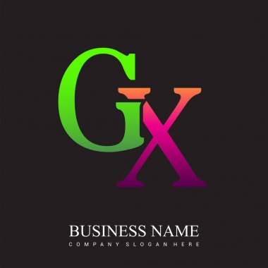 Initial letter logo GX colored pink and green, Vector logo design template elements for your business or company identity. icon