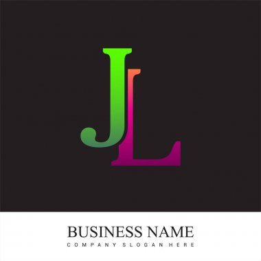 Initial letter logo JL colored pink and green, Vector logo design template elements for your business or company identity. icon