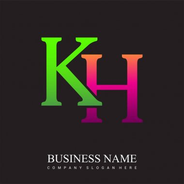 Initial letter logo KH colored pink and green, Vector logo design template elements for your business or company identity. icon