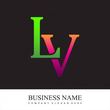 Initial letter logo LV colored pink and green, Vector logo design template elements for your business or company identity. icon