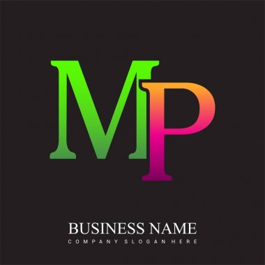 Initial letter logo MP colored pink and green, Vector logo design template elements for your business or company identity. icon